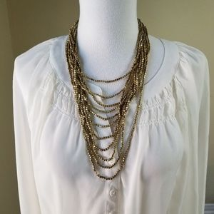 Multi-Strand Necklace Gold Tone Tiny Nuggets